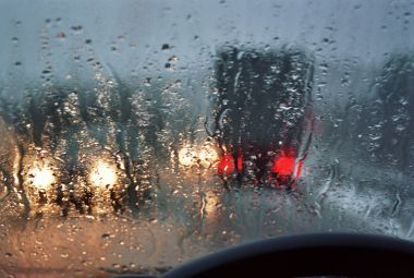 Road condition monitoring during rainy weather